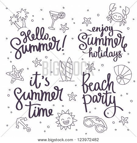 Set Citations: This Summer Beach Party Hello Summer enjoy the summer holidays. Fashionable calligraphy. Vector illustration on white background with summer icons. Elements of design for summer.