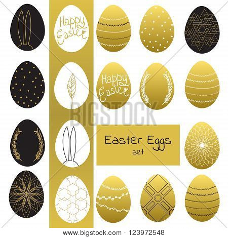 Easter eggs set. Vector illustration. Happy easter background