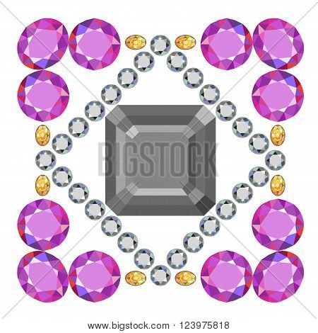Gemstone rim asscher cut square brooch isolated on white background vector illustration