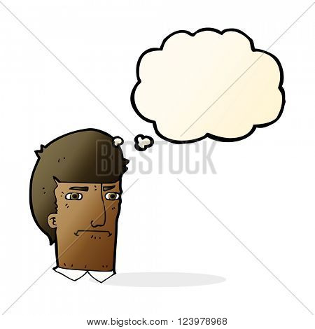 cartoon man narrowing eyes with thought bubble