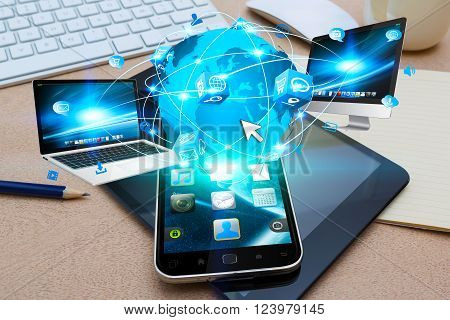 Modern Mobile Phone Connecting Tech Devices
