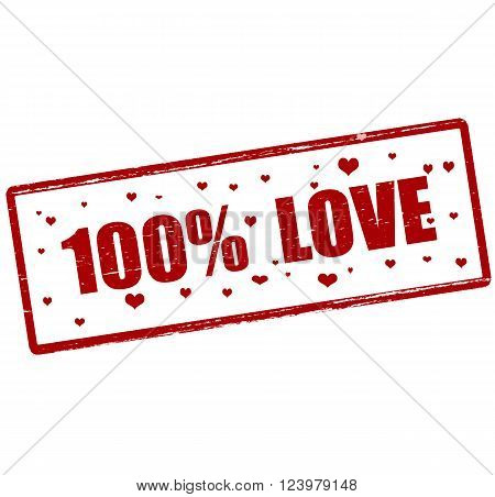 Rubber stamp with text one hundred percent love inside vector illustration`