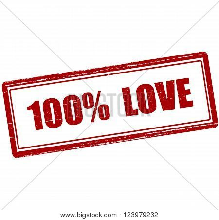 Rubber stamp with text one hundred percent love inside vector illustration