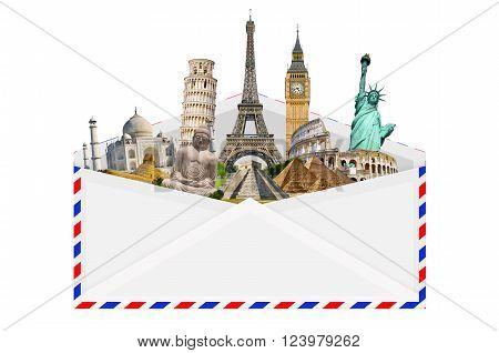 Illustration Of An Envelope Full Of Famous Monument