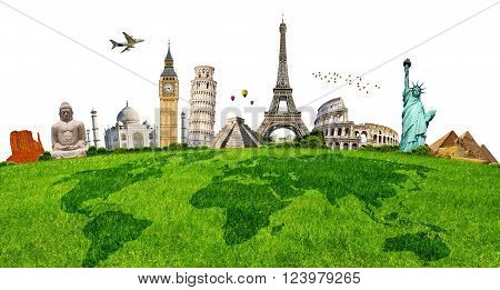Illustration Of Famous Monument On Green Grass