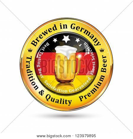 Brewed in Germany - Premium Beer, Tradition and Quality advertising for pubs, clubs, restaurants and breweries. Contains beer mug and the Germany flag on the background