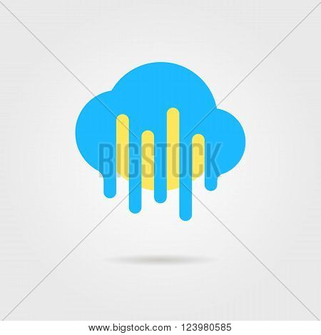 weather forecast icon with cloud and sun. concept of daily forecast, company brand, tv program, weather today. isolated on grey background. flat style trendy modern logo design vector illustration
