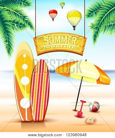 Hanging Arc Sign for Summer Surfing at the Beach With Surfboards and Palm Trees for Summer Adventure. Vector Illustration