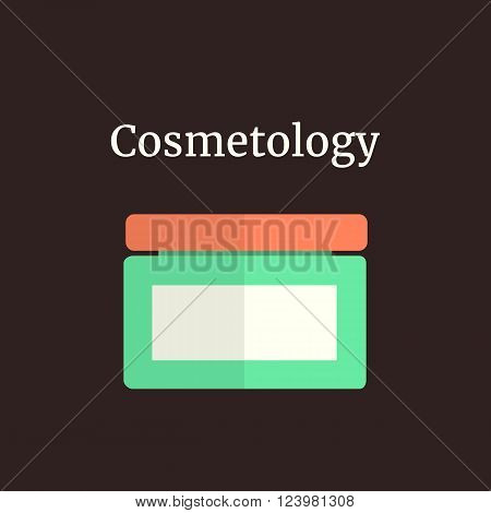 colored facial cream like cosmetology. concept of beauty parlor, skincare, organic balsam, medicine, branding package. isolated on brown background. flat style trendy modern design vector illustration