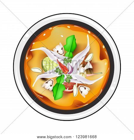 Thai Cuisine Tom Yum Goong or Thai Spicy and Sour Soup with Squids Mushroom Coconut Milk and Herbs. One of The Most Popular Dish in Thailand.
