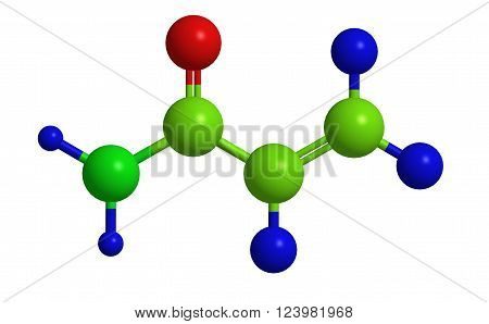Molecular structure of Acrylamide (acrylic amide) - crystalline solid chemical compound, 3D rendering