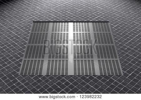 Metal Railing In Ceramic Floor