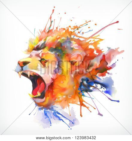 Watercolor painting. Roaring lion, vector illustration, isolated on a white background