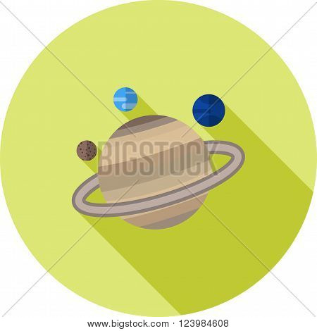 Saturn, planet, space icon vector image.Can also be used for astronomy. Suitable for use on web apps, mobile apps and print media.