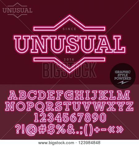 Neon pink label for fashion store. Vector set of letters, numbers and symbols