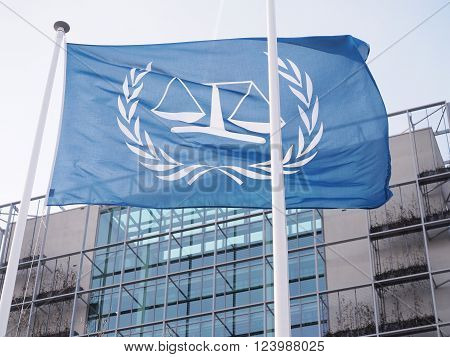 The Hague, Netherlands - March 27, 2016: The flag in front of International Criminal Court at the new 2015 opened ICC building.
