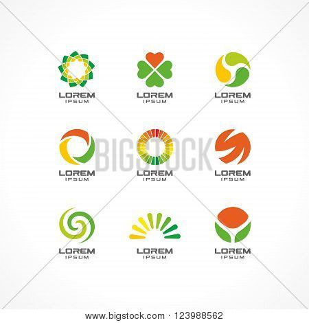 Set of icon design elements. Abstract logo ideas for business company. Eco, healthcare, SPA, Cosmetics and medical concepts.  Pictograms for corporate identity template. Stock Illustration Vector