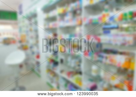 beautiful blured drug store background in thailand