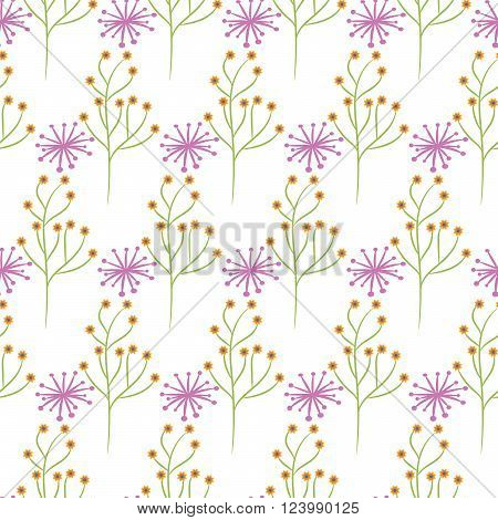 Wild flower spring pink and green field seamless pattern. Floral tender fine summer vector pattern on white background. For fabric textile prints and apparel.