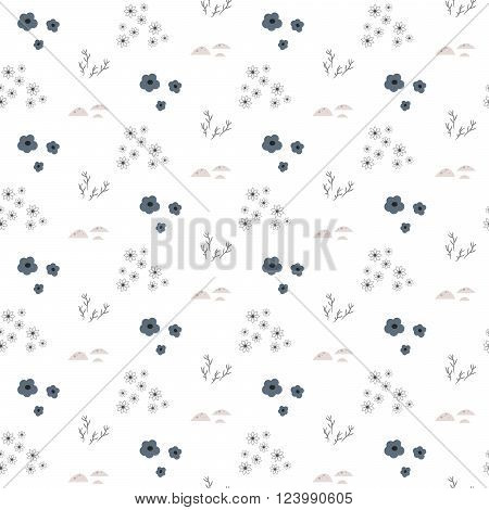 Wild flower gray light spring field seamless pattern. Floral tender fine summer vector pattern on white background. For fabric textile prints and apparel.