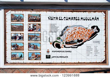 COMARES, SPAIN - JUNE 29, 2008 - Comares muslim trail ceramic sign Comares Malaga Province Andalusia Spain Western Europe, June 29, 2008.