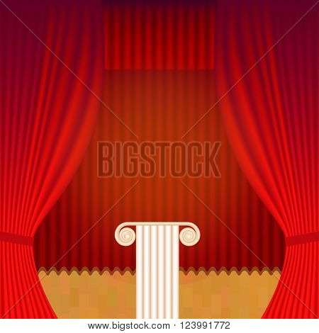 A scene with a theater curtain and pedestal. Vector background for announcements of events, lectures and exhibitions