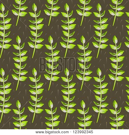 Spring wild flower leaves field seamless pattern. Floral tender fine summer vector pattern on brown background. For fabric textile prints and apparel.
