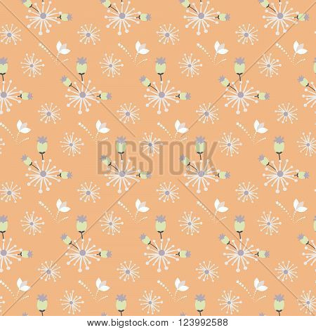 Spring wild flower field orange and beige seamless pattern. Floral tender fine summer vector pattern on orange background. For fabric textile prints and apparel.