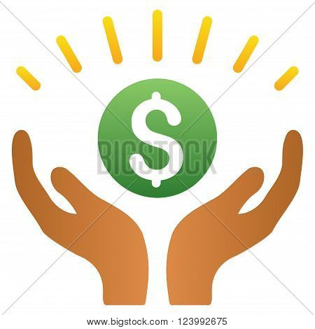 Financial Prosperity Hands vector toolbar icon for software design. Style is a gradient icon symbol on a white background.