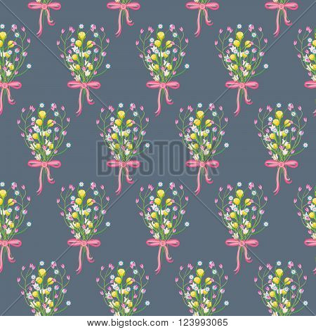 Spring wild flower bouquet with bow seamless pattern. Floral tender fine summer vector pattern on blue background. For fabric textile prints and apparel.