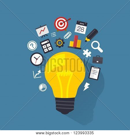 Light bulb with flat icons. Design element. Background for business, communication, marketing research, strategy, mission, analytics and web design. Vector illustration.