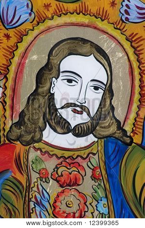 antique glass icon of jesus