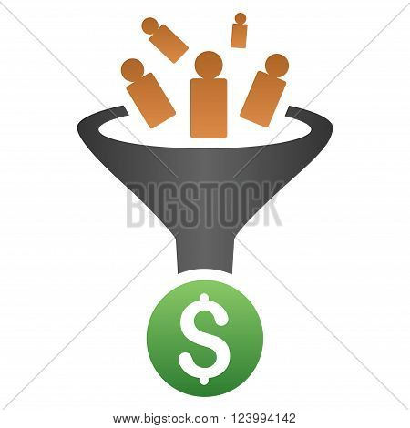 Sale Conversion Funnel vector toolbar icon for software design. Style is a gradient icon symbol on a white background.