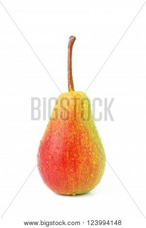 Wet pear isolated on a white background.
