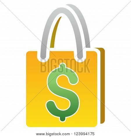 Shopping Bag vector toolbar icon for software design. Style is a gradient icon symbol on a white background.