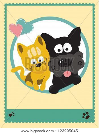 Vector illustration of two buddies - kitty and pup