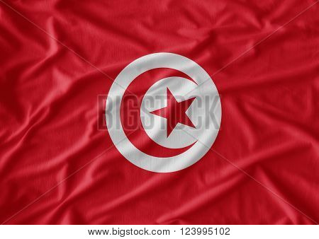 Waving Fabric Flag of Tunisia. Tunisia flag texture