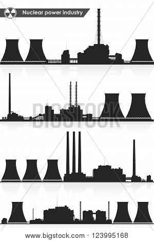 Silhouettes of nuclear power plants isolated on white background. Vector illustration.