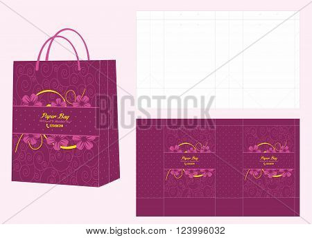 Purple Flower Paper Shopping Bag and Die Cut