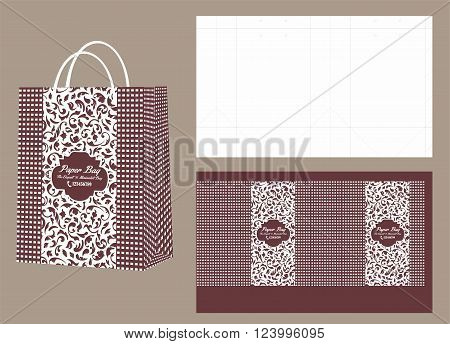 Floral Brown Paper Shopping Bag and Die Cut