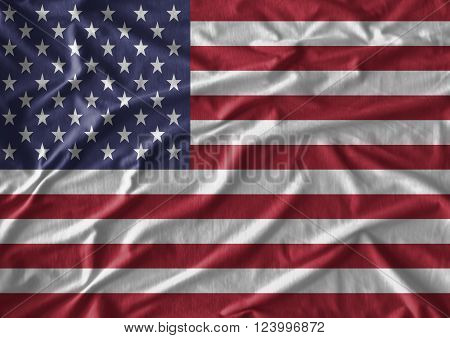 Waving flag of United States of America. Flag has real fabric texture