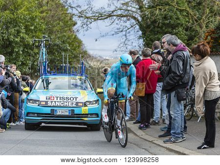 Conflans-Sainte-HonorineFrance-March 62016: The Spanish cyclist Luis Leon Sanchez Gil of Astana Team riding during the prologue stage of Paris-Nice 2016.