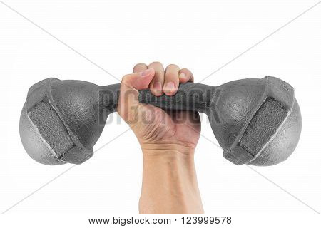 Hand holding the bending classic dumbbell isolated on white background