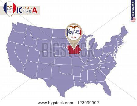 Iowa State On Usa Map. Iowa Flag And Map.