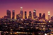 stock photo of blue angels  - Downtown Los Angeles skyline at night California USA - JPG