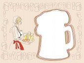 Постер, плакат: Баварский женщина с пивом