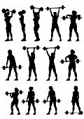 stock photo of snatch  - Vector image of young athletic women with a heavy barbell - JPG
