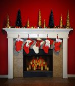 image of cozy hearth  - A Beautiful scene of a christmas foreplace with stockings on the mantle.