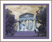 image of ceres  - painted effect of a greek temple in italy - JPG