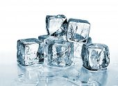 image of ice-cubes  - ice cubes with reflection against white background - JPG